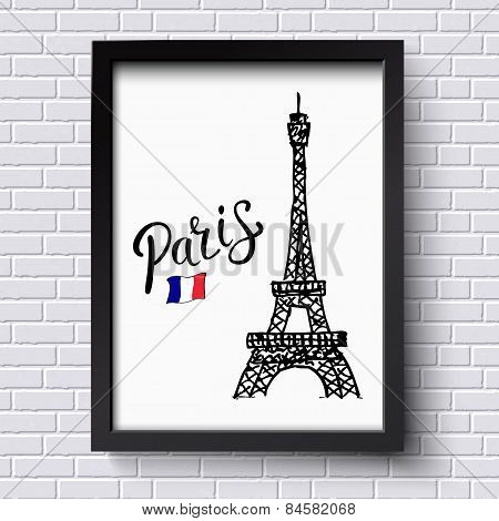 Tourism poster or card design for Paris