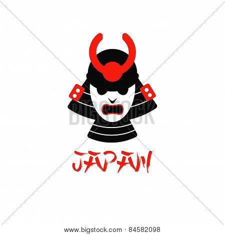 illustration of isolated samurai mask on white background