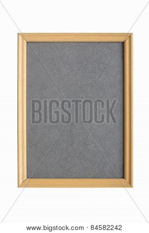 Simple Wooden Picture Frame With Gray Cardboard Matte, Isolated On White