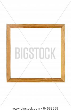Old Simple Wooden Square Picture Frame, Isolated On White