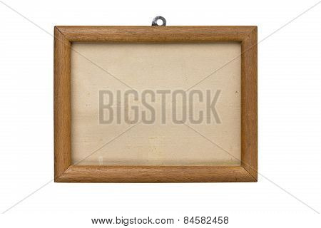 Old Wooden Picture Frame With Mount And Cardboard Matte, Isolated On White