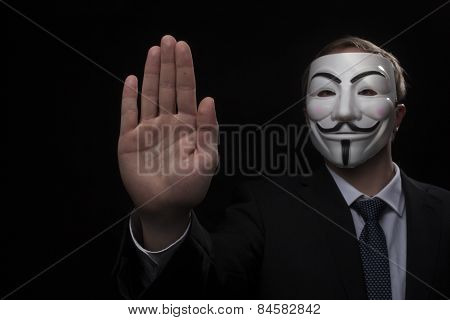 Anonymous Activist Hacker With Mask Studio Shot