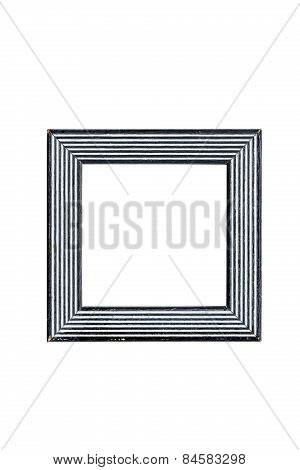 Black And White Square Picture Frame With Line Pattern, Isolated On White