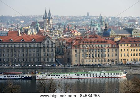 Dvorak Embankment Between Cechuv Bridge And Manes Bridge, Prague.