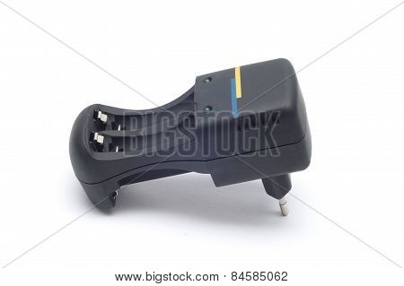 Black Battery Charger Isolated On White Background