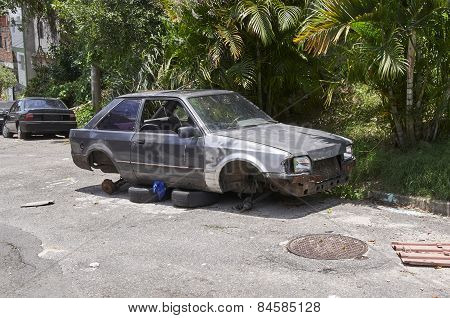 Car Broken, Crumpled And Abandoned In Sao Paulo City