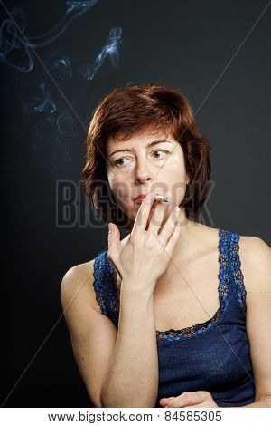 Young Woman Smoking Cigarette, Healthcare Concept