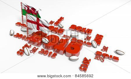 2015 England And Wales Flags With Balls