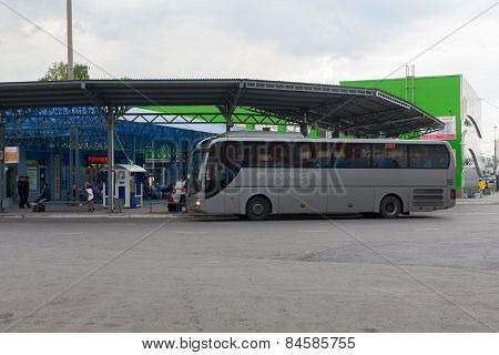 Large Bus At A Bus Station