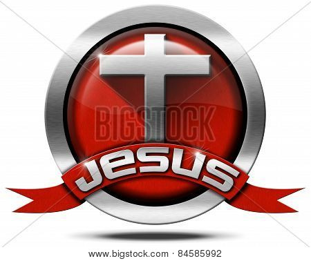 Jesus - Red And Metal Icon