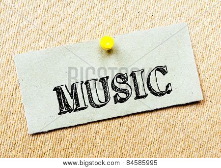 Recycled Paper Note Pinned On Cork Board. Music Message
