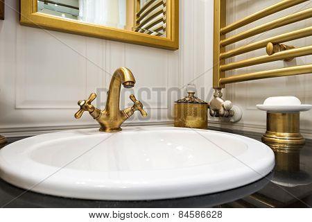 Sink Close Up In Bathroom Interior