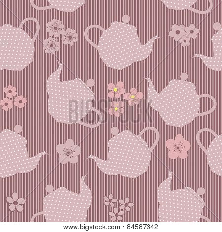 Seamless Pattern With Kettles And Flowers
