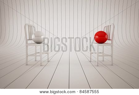 Abstract composition chairs and balls