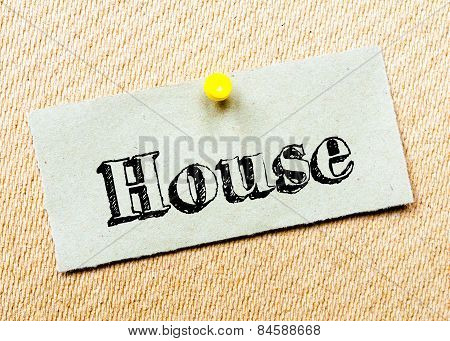 Recycled Paper Note Pinned On Cork Board. House Message