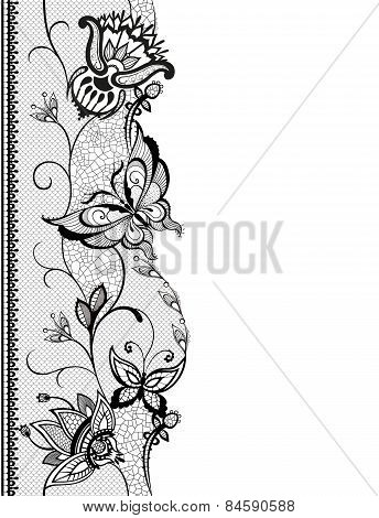 Abstract Lace With Elements Of Butterflies And Flowers