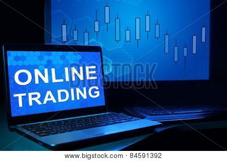 Computer with words Online Trading.