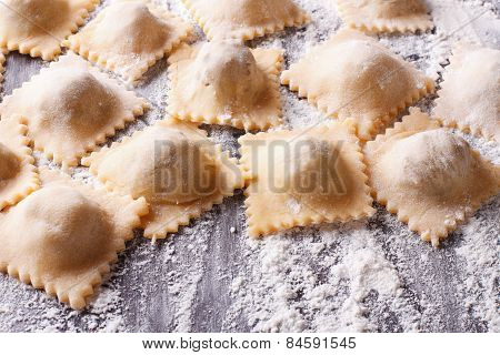Uncooked Ravioli With Flour On The Table. Horizontal