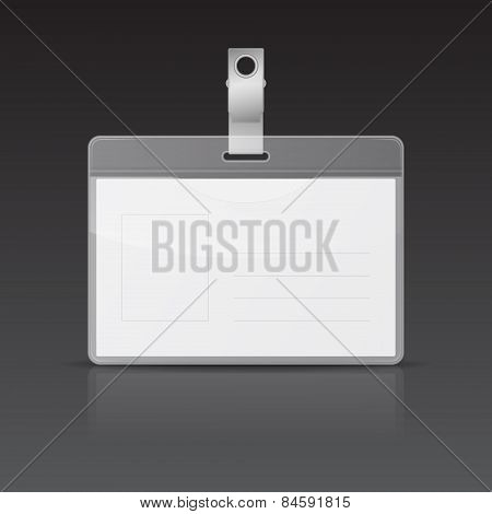 Vector Id Card With Reflection On Black Background