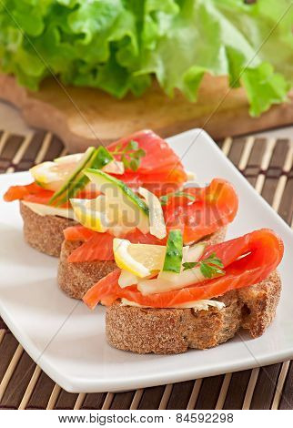 Appetizing sandwich with salmon