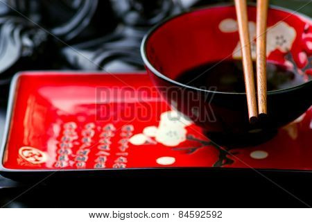Empty Ceramic Chinese Dish And Chopsticks