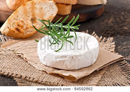 Baked Camembert cheese with rosemary and toast rubbed with garlic