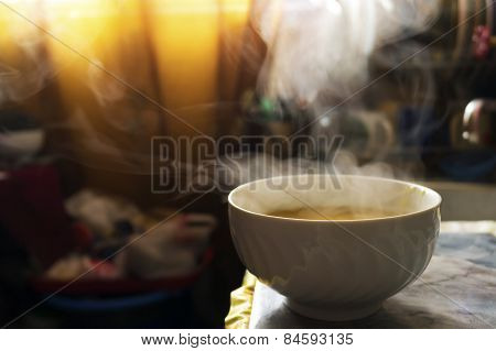 Steaming hot soup in a bowl