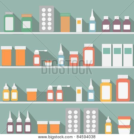Flat Style Medical Pharmaceutical Bottles Glasses Containers Scales Icon.