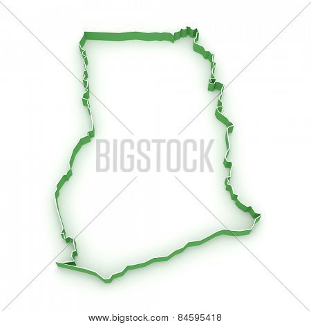 Map of Ghana. 3d