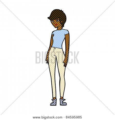 retro comic book style cartoon modern attractive woman