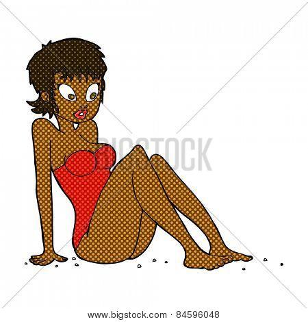 retro comic book style cartoon woman in swimsuit