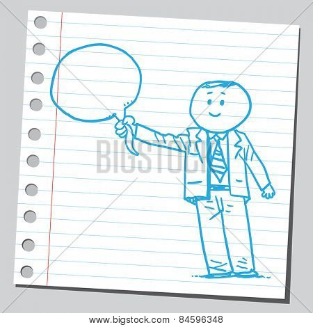Businessman holding speech bubble