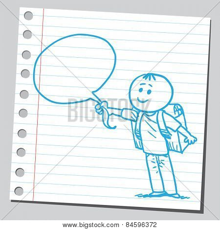 Schoolkid holding speech bubble