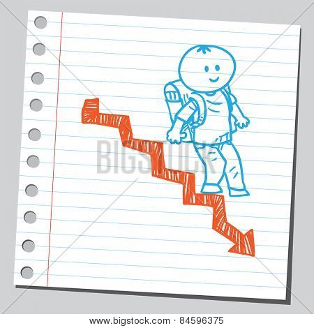 Schoolkid walking down arrow stairs