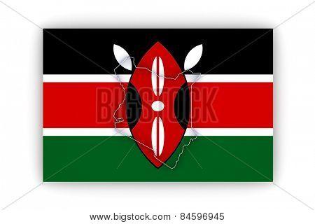 Map of Kenya. 3d