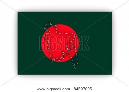 Map of Bangladesh. 3d