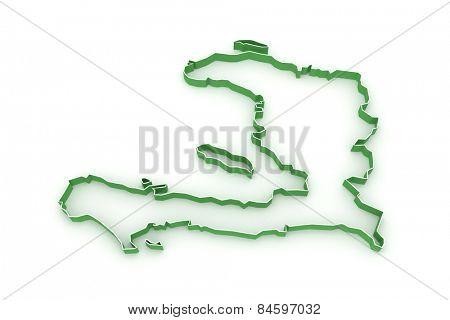 Map of Haiti. 3d