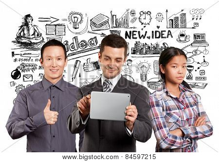 Team and man businessman in suit with touch pad in his hands