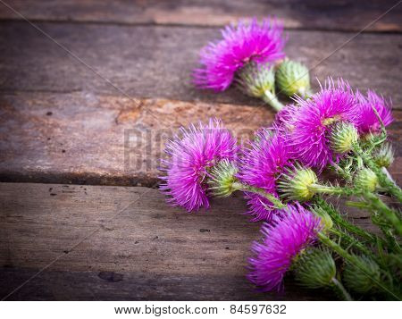 Burdock on the wooden background