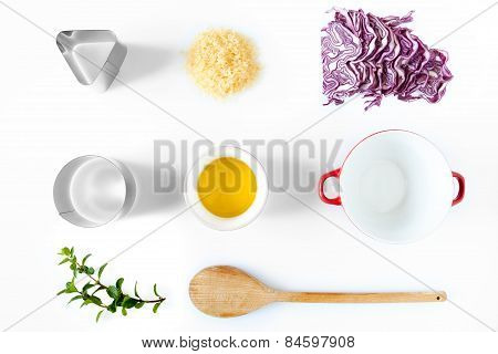 Ingredients And Utensils For Red Cabbage Risotto
