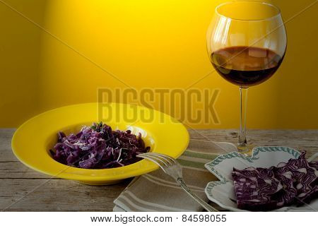 Red Cabbage Risotto And Glass Of Wine