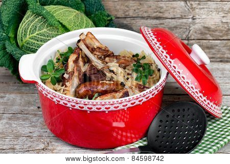 Stewed Cabbage With Pork Ribs And Sausages