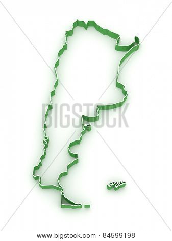 Map of Argentina. 3d