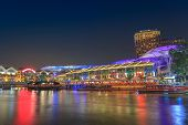 picture of singapore night  - colouful night scene at Singapore Clarke Quay - JPG