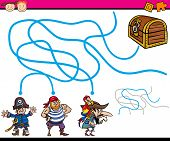 image of treasure  - Cartoon Illustration of Education Path or Maze Game for Preschool Children with Pirates and Treasure - JPG