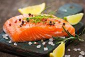 stock photo of salmon steak  - Fresh - JPG