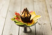 image of guy fawks  - Cupcakes with orange icing swirl with chocolate fingers as logs - JPG