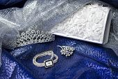 picture of clutch  - Set of female accessories of the clutch watches brooches and tiaras - JPG