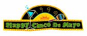 picture of decorative  - Mexican art style Cinco de Mayo banner made with bold colors includes decorative text and Mexican elements on a black background - JPG