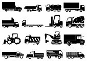 picture of towing  - Towing vehicle vector icons set in black - JPG